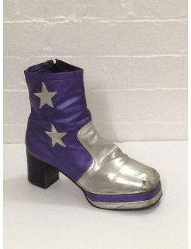 1970s Purple Black Star Platform Boots Fantasy Shoes Lenny Star 9