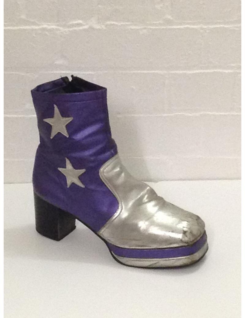 1970s Purple Black Star Platform Boots Fantasy Shoes Lenny Star 9