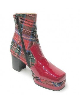 1970s Red Tartan Platform Boots Fantasy Shoes 9 and 11