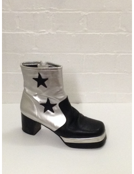 1970s Silver Black Star Platform Boots Fantasy Shoes Lenny Star 9,12