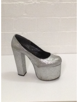 1970s Silver Glitter Platform Shoes Rita Victim Fantasy Shoes 6