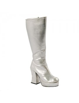 1970s Silver Platform Boots Fantasy Shoes 6