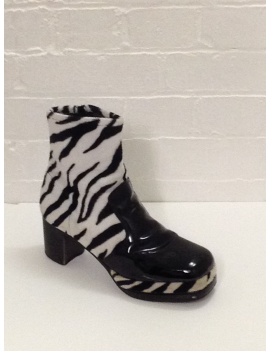 1970s Zebra Print Black White Platform Boots Fantasy Shoes 10