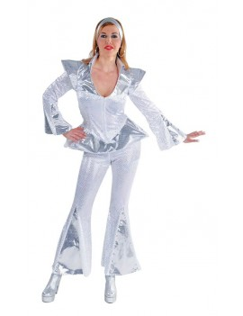 60s 70s Glam Rock Space white and silver Womans hire rental costume Magic By Freddys AJ29 AJ30