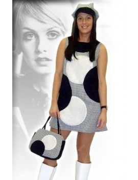 60s Dogtooth black and white check dress Set deluxe rental costume Make Believe AQ32B AQ32C