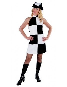 60s Mary Quant Biba white and black tv hire womans rental costume Magic By Freddys AO17D AO20A