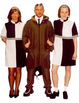 60s Mod Black And White Check Dress Make Believe AQ34