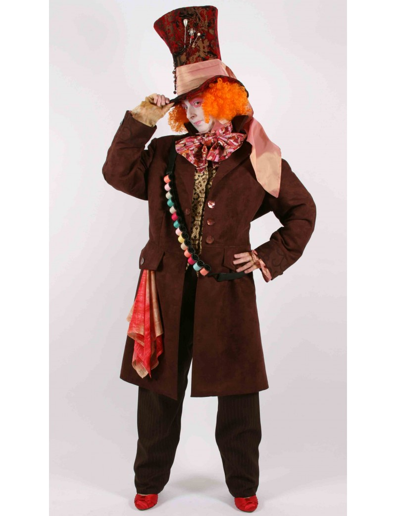 Alice In Wonderland Mad Hatter Hire Costume Mardi Gras BX5A