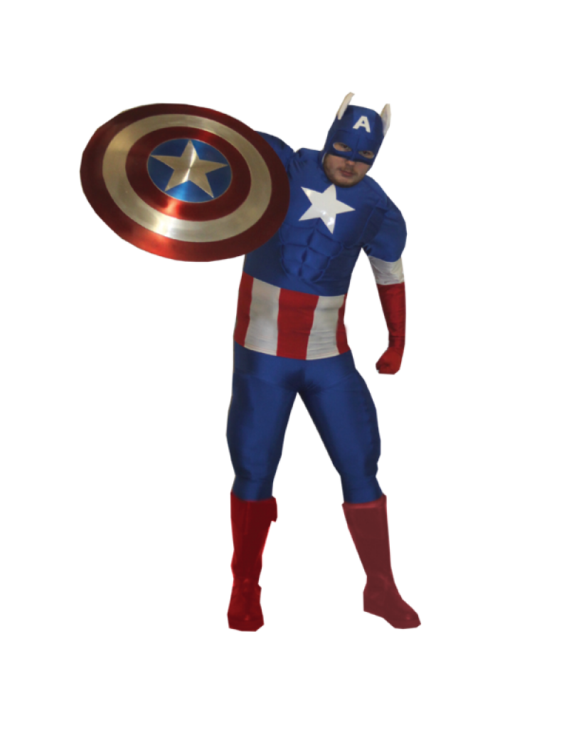 Captain America mens fancy dress tv Superhero deluxe padded hire rental costume Make Believe DC22A