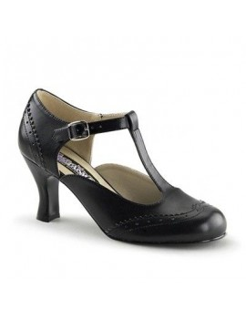1920s Gatsby T Bar Buckle Black Shoe Pleaser Flapper - 26