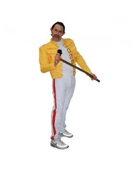 Freddie Mercury Wembley Live Aid Mens deluxe hire  80s Popstar hire Yellow Jacket costume DA9
