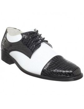 Gangster Spiv Oxford Two Tone Black White Shoes Funtaisma