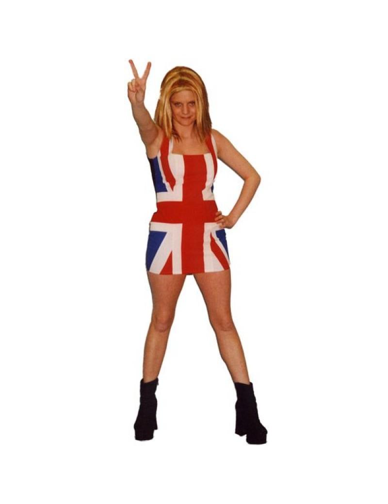 Geri Halliwell Ginger Spice World Girl Wannabe womans fancy dress 90s hire Union Jack dress costume Make Believe BV8A BV8B