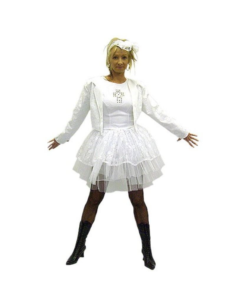 Madonna Like A Virgin white lace womans fancy dress 80s 90s hire costume Make Believe BV2A