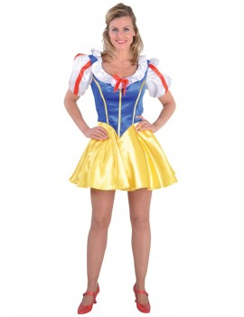 Snow White short womans fancy dress tv film Disney satin polyester hire costume Magic By Freddys BY14A