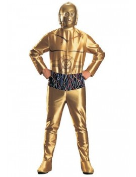 Star Wars C3PO robot droid mens fancy dress tv film hire rental hero costume Rubies Masquerade CW8