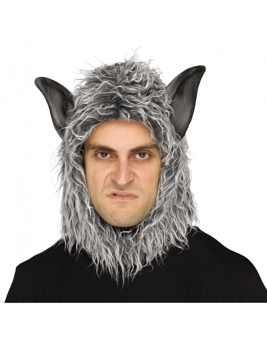 werewolf big bad wolf beast hood halloween fancy dress costume party mens mask palmers 1588b