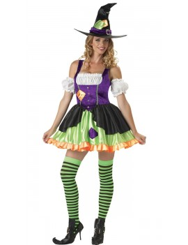 Witch Witchful Thinking womans fancy dress Halloween villain hire costume In Character Q5A