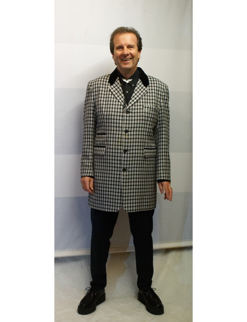 1950s Teddy Boy Suit Black White Check DH16